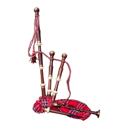 Roosebeck 40 x 20 Inch Bagpipe Set Full Size Chalice Red Tartan