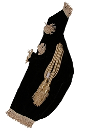 Roosebeck Bagpipe Cover and Cord Full Size Black Velvet 27 x 11 Inch