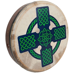 Roosebeck 18 x 3.5 Inch Bodhrán Cross Bar Tunable Celtic Cross + Tipper + Wrench