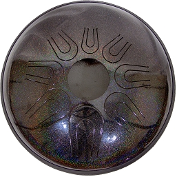 Idiopan Dual Tone Steel Tongue Drum 14 Inch Tunable Onyx Rainbow + Mallets