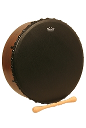 Remo 14 Inch Irish Bodhrán Bahia Bass Head Black + Tipper Cipin
