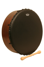 Remo 16 Inch Irish Bodhrán Bahia Bass Head Black + Tipper Cipin