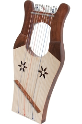 Mid-East 16.5 Inch Mini Kinnor Harp 10 String Light Finish