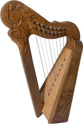 Roosebeck 16.5 Inch Parisian Harp 8 String Walnut + String Set + Tuning Tool