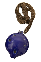 DOBANI Alto Ocarina + Braided Necklace Key A Blue Ceramic