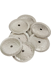 Mid-East 2.1 Inch Tambourine Jingles White Copper 10 Pack