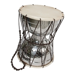 Mid-East 15 Inch Talking Drum Nickel Brass + Beater