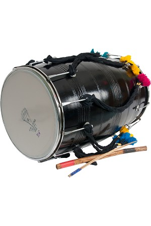 "banjira Dhol Synthetic Heads Bolt Tuned + Beaters 14"" x 25"""