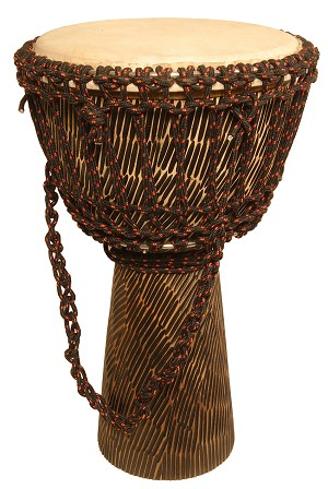 Mid-East Rope Djembe Tuned Sheesham Goatskin Head 10 x 20 Inch Hewn