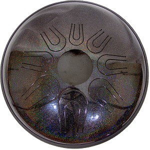"Idiopan Dual Tone Electric Steel Tongue Drum 14"" Tunable Onyx Rainbow + Mallets"