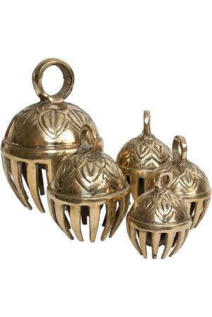 DOBANI Elephant Bells Solid Brass 5 Piece Set