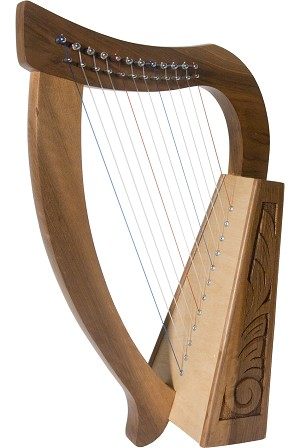 Roosebeck 21 Inch Baby Harp 12 String Walnut + Extra String Set + Tuning Tool