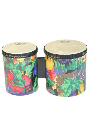Remo Kids Percussion Bongos 5 Inch + 6 Inch Rain Forest