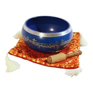 DOBANI 8 Inch Singing Bowl Aluminum + Mallet + Cushion Blue