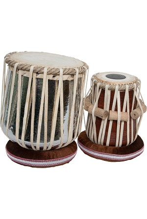 "banjira Jori Tabla Set Strap Tune Brass Nickel Dhamma 5.75"" Pura + Cushions"