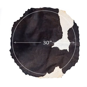 MRC 30 inch Diameter Black White Cow Skin Drum Head With Hair B